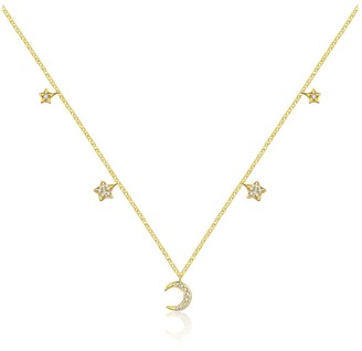 18K Yellow Gold Moon & Star Shape Diamond Necklace Choker