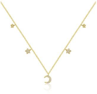 Genevieve Collection 18K Yellow Gold Moon & Star Shape Diamond Necklace Choker