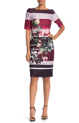Gabby Skye Floral Stripe Scuba Dress
