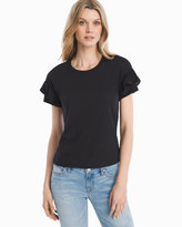 White House Black Market Black Short Ruffle-Sleeve Top