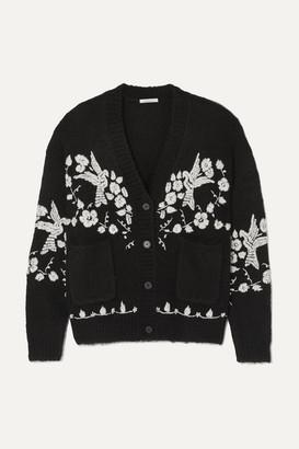 Mes Demoiselles Botanic Wool-blend Jacquard Cardigan - Black