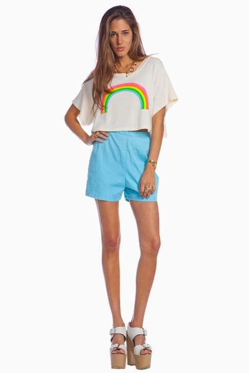 Wildfox Couture Valley Girls Beach Tee in Rainbow Pearl