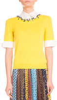 Mary Katrantzou Ella Jeweled Half-Sleeve Sweater, Yellow