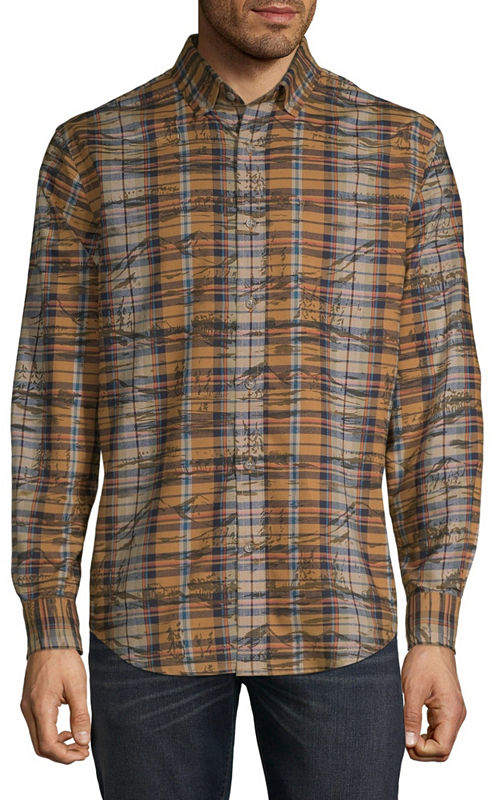 ST. JOHN'S BAY Mens Long Sleeve Plaid Button-Front Shirt Slim