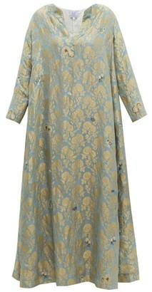 Thierry Colson Samia Silk Floral-brocade Dress - Womens - Blue