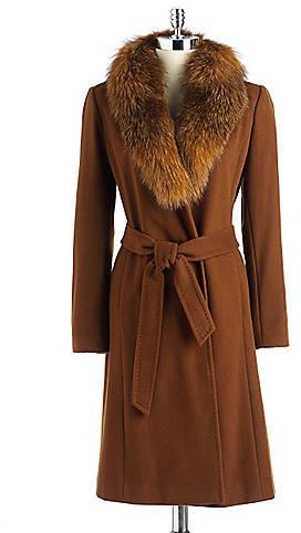Ellen Tracy Fur Collar Belted Coat