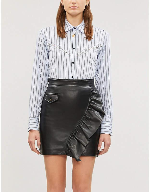 Sandro Ruffled leather mini skirt