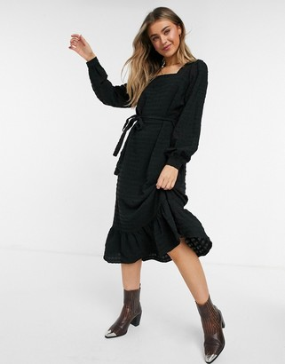 Pieces textured midi dress with square neck and tie waist in black