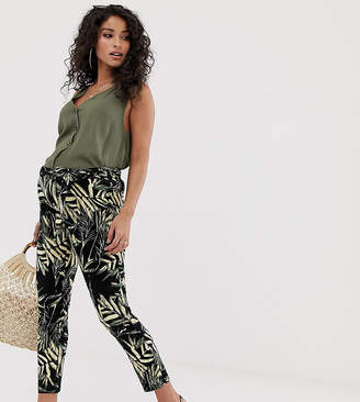 Asos DESIGN Maternity over the bump tie waist peg pants in tropical palm print-Multi