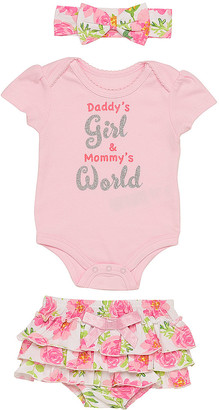 Baby Starters Girls' Infant Bodysuits Pink - Pink Floral 'Daddy's Girl and Mommy's World' Bodysuit Set - Newborn & Infant