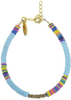 Allthemust Blue Turquoise Heishi Bead Bracelet - Yellow Gold
