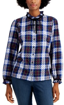 Charter Club Cotton Plaid Dot-Print Blouse, Created for Macy's