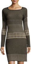 Max Studio Long-Sleeve Sweater Dress, Black/Champagne