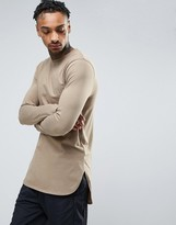 Asos Super Longline Long Sleeve T-shirt With Curved Step Hem