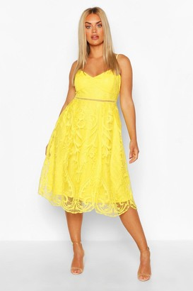 boohoo Plus Crochet Lace Midi Skater Dress