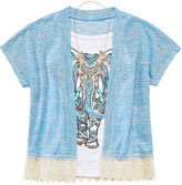 Knitworks Knit Works Beautees Graphic Tank Top and Short-Sleeve Lace-Trim Sweater with Necklace - Girls 7-16