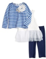 Toddler Girl's Pippa & Julie Stripe Top, Peplum Tank & Leggings Set
