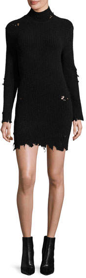 Yeezy Destroyed Knit Mock-Neck Dress, Black