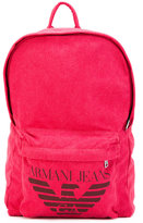 Armani Jeans logo print backpack - men - Cotton/Polyester/Polyurethane/Viscose - One Size