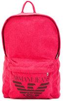 Armani Jeans logo print backpack - men - Cotton/Polyester/Viscose/Polyurethane - One Size