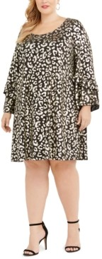 Robbie Bee Plus Size Metallic Cheetah Print Dress