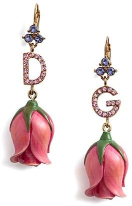 Dolce & Gabbana Crystal Embellished Flower Earrings