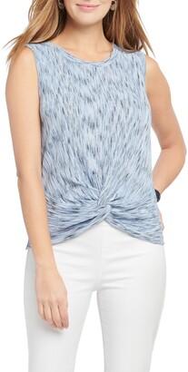 Nic+Zoe Mottled Stripe Twist Hem Sweater Tank