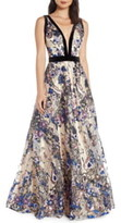 Mac Duggal Plunging V-Neck Floral Sequin Prom Dress