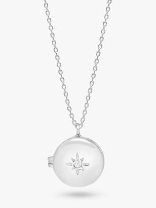 Estella Bartlett Cubic Zirconia Star Locket Pendant Necklace, Silver