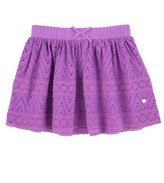 Juicy Couture Girls Soft Woven Eyelet Lace Trim Skirt