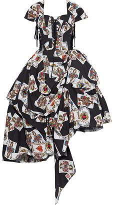 Dolce & Gabbana Asymmetric Lace-up Printed Cotton-poplin Gown
