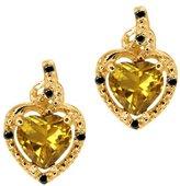 Gem Stone King 1.51 Ct Heart Shape Yellow Citrine Black Diamond 18K Yellow Gold Earrings