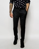 Asos Skinny Tuxedo Pants In Black