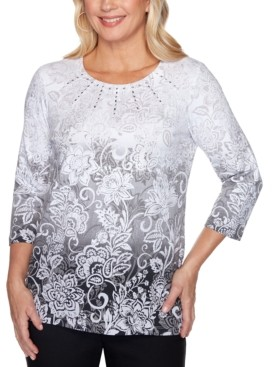 Alfred Dunner Riverside Drive Ombre Printed Embellished Top