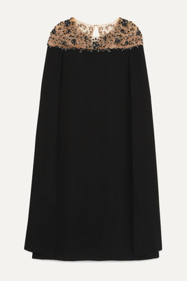 Marchesa Cape-effect Embellished Tulle And Crepe Midi Dress - Black