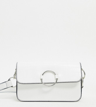 My Accessories London Exclusive 90s croc effect shoulder bag with ring detail in white