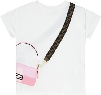 Fendi Kids Trompe l'Oeil printed cotton T-shirt