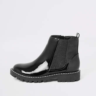 River Island Girls black patent boots