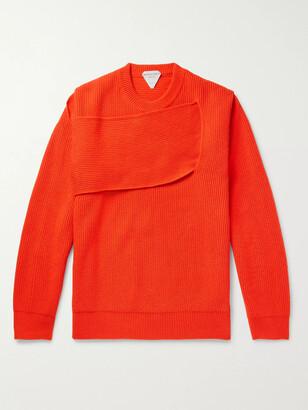 Bottega Veneta Panelled Ribbed Cashmere-Blend Sweater - Men - Orange