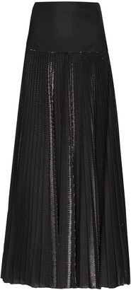 Alexandre Vauthier Metallic Detail Pleated Maxi Skirt