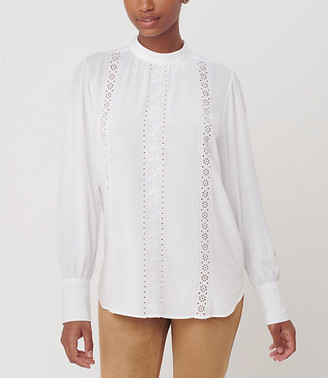 LOFT Embroidered Mock Neck Blouse