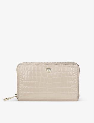 Aspinal of London Continental midi crocodile-embossed leather purse