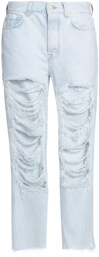 7 For All Mankind Josefina Cropped Distressed Boyfriend Jeans