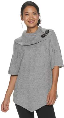 Croft & Barrow Petite Buckle Accent Poncho Sweater