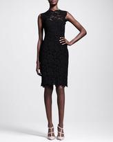Valentino Bow-Back Lace Sheath Dress