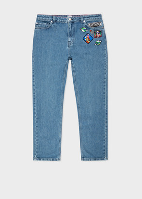 Paul Smith Women's Mid-Wash Girlfriend-Fit Jeans With Patches