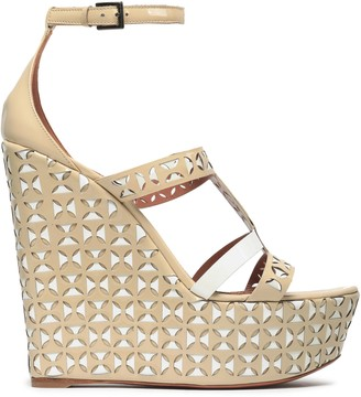 Alaia Laser-cut Patent-leather Wedge Sandals