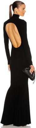 Norma Kamali Long Sleeve Turtleneck Open Back Fishtail Dress in Black | FWRD
