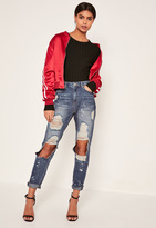 Missguided Blue High Rise Ripped Paint Splat Mom Jeans