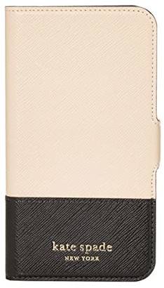 Kate Spade Spencer Magnetic Folio for iPhone(r) 11 Pro (Warm Beige/Black) Cell Phone Case